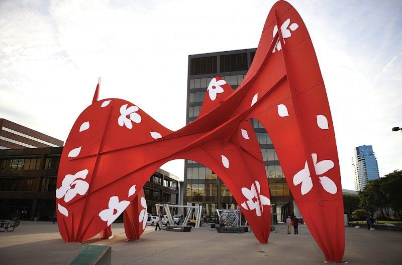 """GVL / Robert MathewsDavid Dodde's ArtPrize entry """"Fleurs et riviere"""" at Calder Plaza in downtown Grand Rapids."""