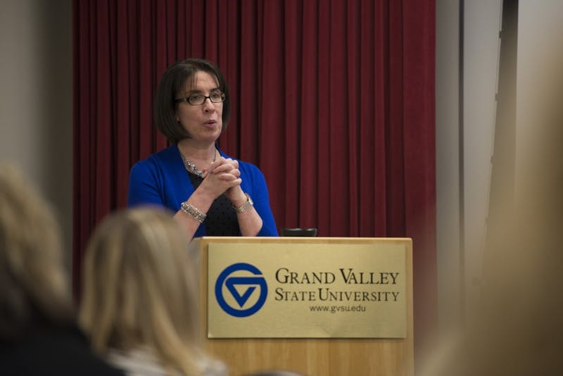 GVL / Luke Holmes - Eileen Sullivan gives her presentation in the Kirkhof Center Tuesday, April 26, 2016.