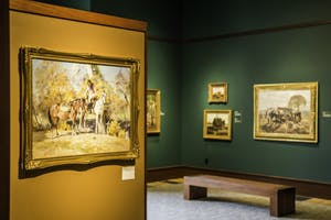 GVL/Spencer MillerThe Mathias Alten exhibit is displayed in the George and Barbara Gordon Gallery on GVSU's Devos Campus. GVSU has the largest public collection of Alten's work with over 70 of his paintings permanently on display.
