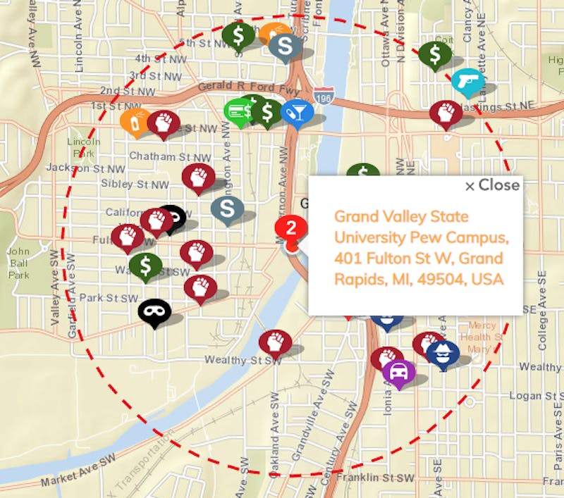 Map of crime incidents reported within a mile radius of Grand Valley's Pew campus.  Courtesy / GRPD Crime Mapping
