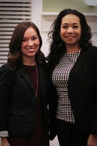 GVL / Sheila BabbittModerator, Victoria Stevenson, and panel member, Alexis Rangel, pose for a photo at the Life beyond the classroom event on January 23rd, 2018.