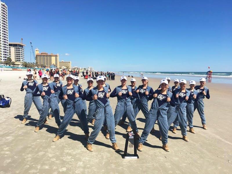GVL / Courtesy - GVSU Dance TeamThe GVSU Dance Team poses with their trophy after the NDA Collegiate Championship held in Tampa, FL.