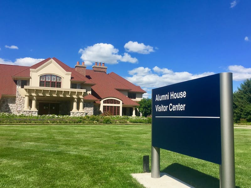GVL / Amy McNeel Grand Valley's Alumni House is located at the front entrance of the Allendale Campus.