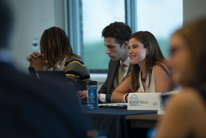 GVL / Luke Holmes - Ella Fritzemeier answers a question during the meeting. Student Senate held their first meeting of the year in the Pere Marquette Room Thursday, Sep. 1, 2016.