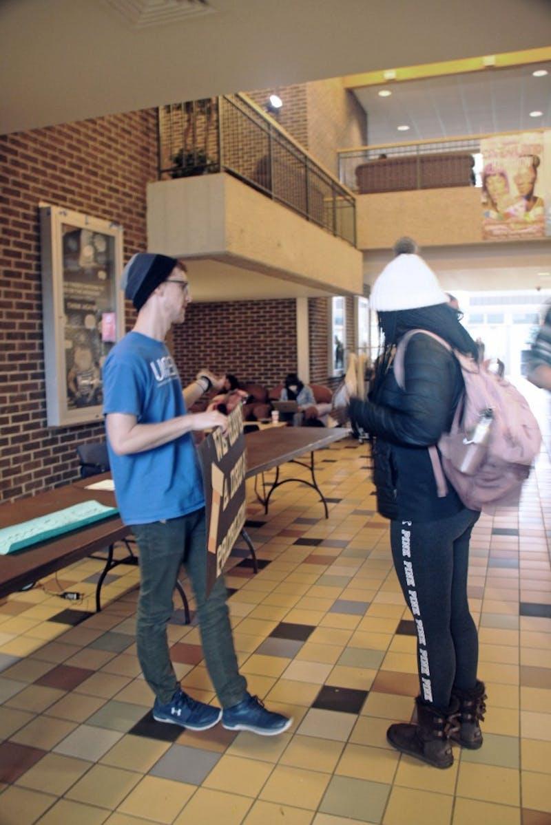 Access To Medicines spreading awareness about global heath disparities at Kirkhof Center on November 6th, 2018. GVL / Emily Modloff
