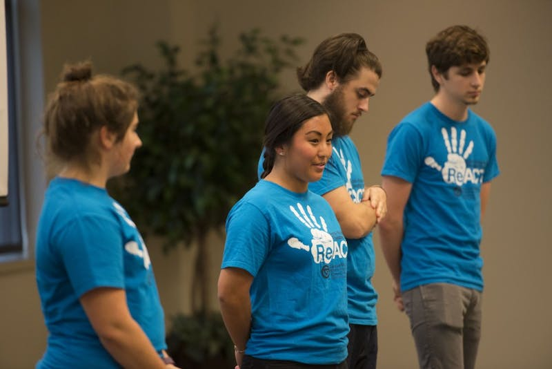 "GVL / Luke Holmes - Students perform a short skit to raise awareness of rape. ""It's On Us: Champions of Change Kickoff"" was held in the Pere Marquette room on Friday, Oct. 7, 2016."