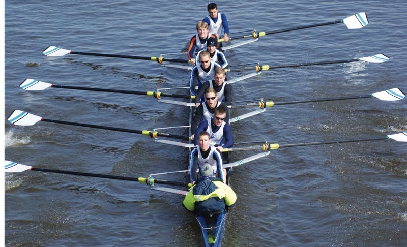 The GVSU men and women row in a past regatta. The teams raced in California.