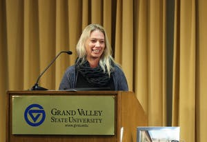 GVL/Kevin Sielaff - Autumn Gorsline-Davis, the academic department coordinator for Modern Languages and Literatures, is awarded the Unsung Hero Award during the Women's Commission Awards inside the Kirkhof Center on Thursday, March 30, 2017.