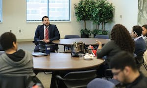 GVL/Archive - Vice President for Inclusion and Equity Jesse Bernal reviews the results of the Campus Climate Survey Tuesday, March 22, 2016 inside of Grand Valley's Kirkhof Center.