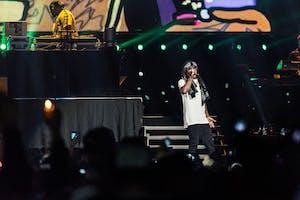 GVL / Luke Holmes - Lil Wayne takes the stage at Van Andel Arena Thursday, Feb. 18, 2016.