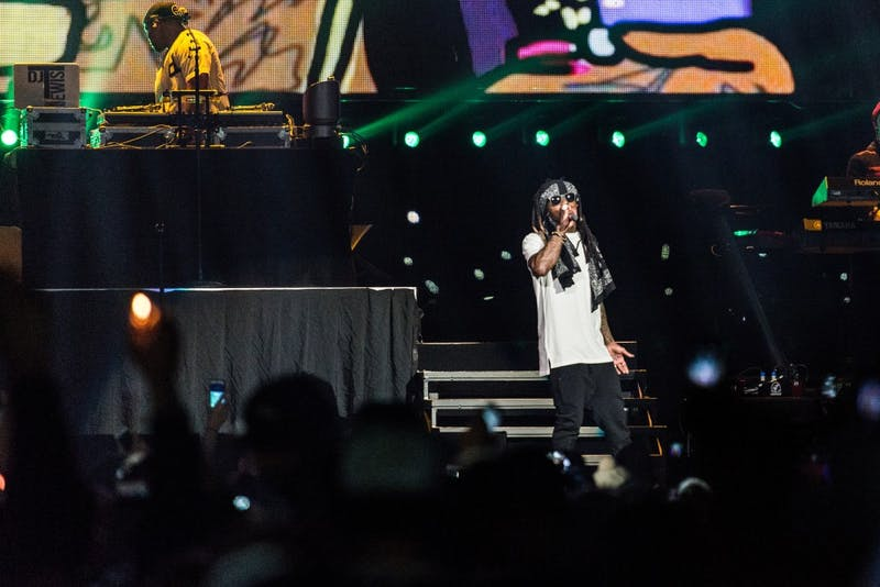 GVL / Luke Holmes - Lil Wayne takes the stage at Van Andel Arena Thursday, Feb. 18, 2016.