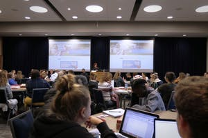 Many students came to listen to the debate discussing the topic of Marijuana legalization in the Multi Purpose room of the library on September 26th, 2018.  GVL / Sheila Babbitt