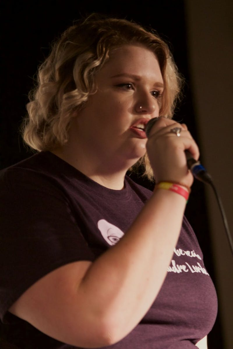 GVL/Mackenzie Bush - Brianna Bost performs at Oppression Out Loud Poetry Slam, presented by Eyes Wide Open, Thursday, Nov. 10, 2016 in Area 51.