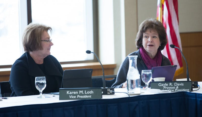 GVL / Kevin Sielaff - Provost Gayle Davis speaks at the Board of Trustees meeting on Friday, Feb. 12, 2016 in the Seidman College of Business on Grand Valley's Pew Campus.