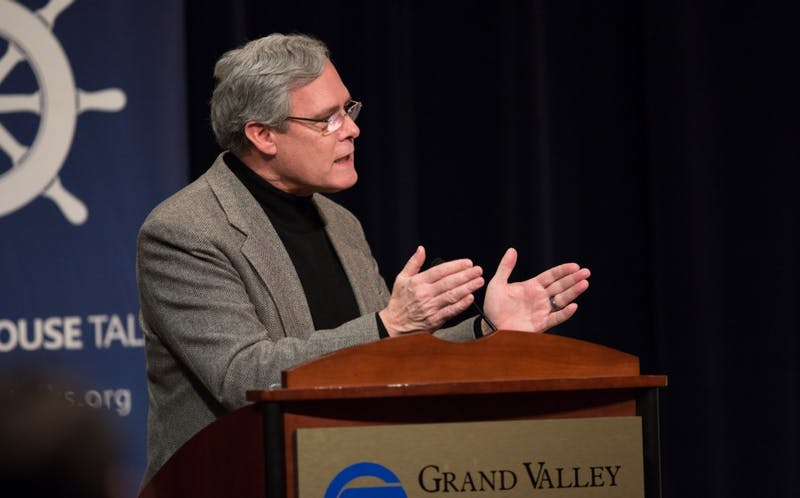 GVL / Kevin Sielaff - Gleaves Whitney introduces the speaker, Brian Flanagan, at Friday's Wheelhouse Talk on Feb. 12, 2016.