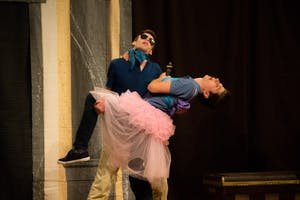 """GVL / Dylan McIntyre. Parker Ykimoff and Jacob Molli acting during the """"Bard To Go"""" play on Saturday, Nov. 4, 2017."""
