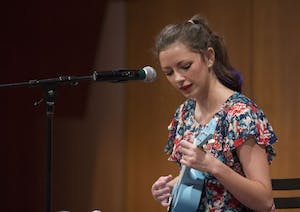 GVL/Mackenzie Bush - Lilly Greenwood sings and plays ukulele at Grand Valley's Got Talent Tuesday, Nov. 1, 2016 in the Cook Dewitt Center.