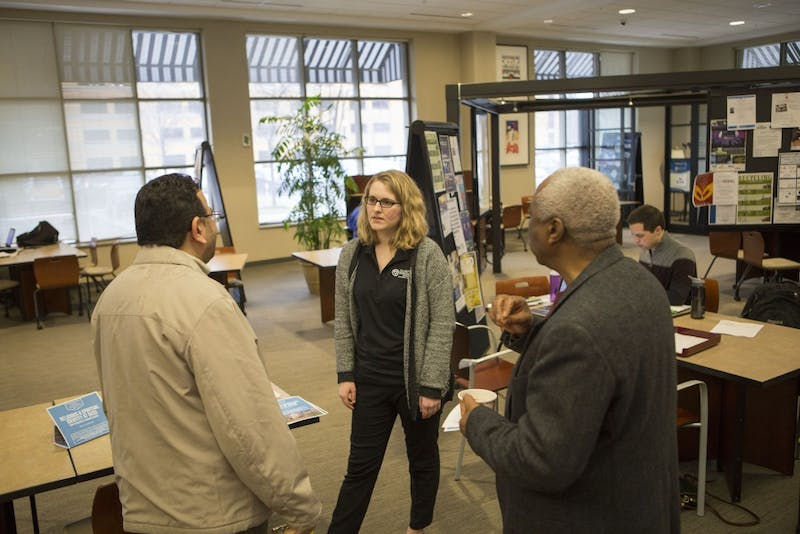 GVL / Sara Carte - The Kaufman Interfaith Institute Program Manager, Katie Gordon, speaks with students and staff at the Religius & Spiritual Identity Listening Sessions in the DeVos Campus on Wednesday, Mar. 23, 2016.