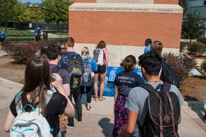 """GVL / Spencer Scarber Grand Valley State University's """"It's On Us"""" organization campaigns against sexual assault on Tuesday September 12, 2017"""