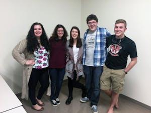 GVL / Courtesy - Luke Gwizdala From left to right: Riley(Julia Knutson), Ashley (Bailey Morgan), Dylan (Christine Davis), Mason (Nathen Julien), Narrator (Joe Blair).