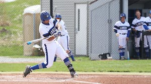 GVL/Kevin Sielaff - Matt Williams (7) takes a swing during the game vs. Ashland on Wednesday, April 12, 2017.