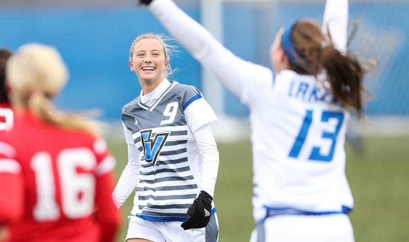 GVL/Kevin Sielaff - Madz Ham (9) reacts to the first goal of the game scored by Marti Corby (13) during the game versus Central Missouri on Sunday, Nov. 20, 2016 in Allendale.