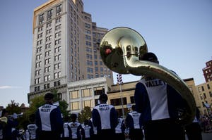 The Grand Valley State University Marching Band kicked off the ArtPrize Nine festivities with President Thomas Haas, Louie the Laker and the GVSU Dance Team Wednesday, Sept. 20.