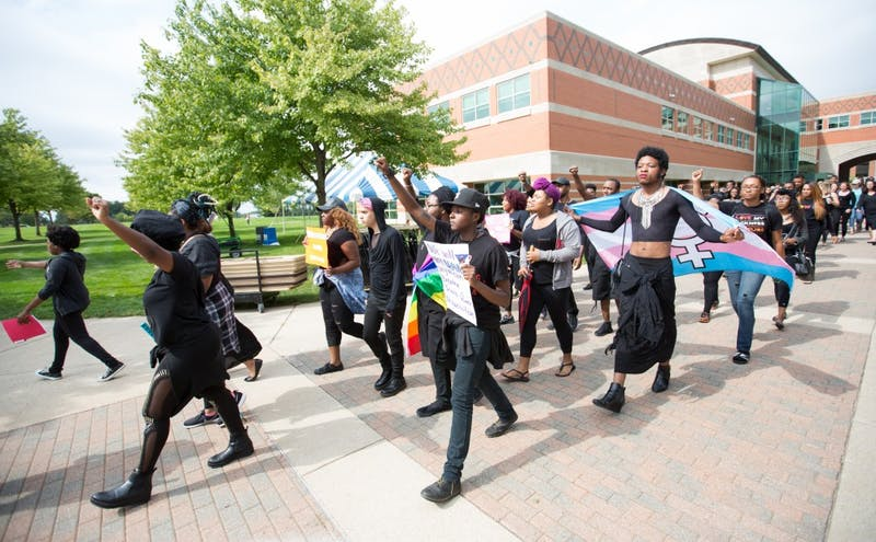 GVL/Kevin Sielaff - Grand Valley's NAACP chapter holds a campus wide demonstration in protest of police brutality Friday, Sept. 23, 2016 in Allendale.