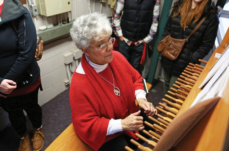 GVL / Kevin Sielaff - The Cook Carillon Tower offers free tours while university carillonneur Julianne Vanden Wyngaard plays the instrument on Tuesday, Dec. 8, 2015 in Allendale.