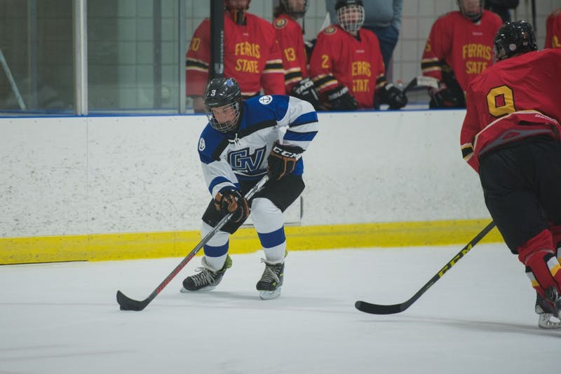 GVL / Luke Holmes - Danny Smith (3) handles the puck. GVSU Men's D2 Hockey defeated Ferris State University with a score of 8-1 on Saturday, Oct. 16, 2016.