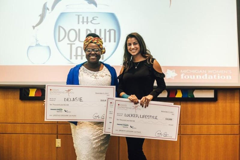 GVL / Courtesy - gvsu.edu (taken by Wrinkle Creative) Rhoda Klomega, left, and Katarina Samardzija each won $10,000 at the 2017 Dolphin Tank Entrepreneur You Business Plan and Pitch Competition November 9.