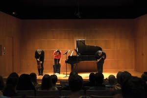 Performers taking a bow at French and Friends. GVL / Andrew Nyhof