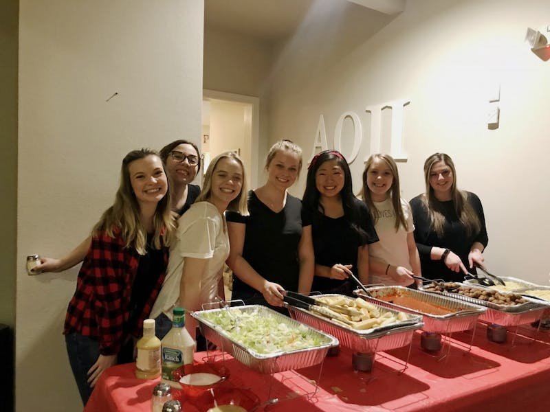 "Alpha Omicron Pi held their Annual Spaghetti Dinner to raise money for ""IKUS"" on Wednesday February 20th, 2019.  GVL / Emily Modloff"