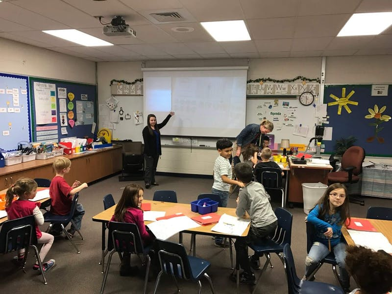 GVL / Courtesy - Alpine ElementaryGrand Valley student teachers working alongside Alpine Elementary School teachers and students.