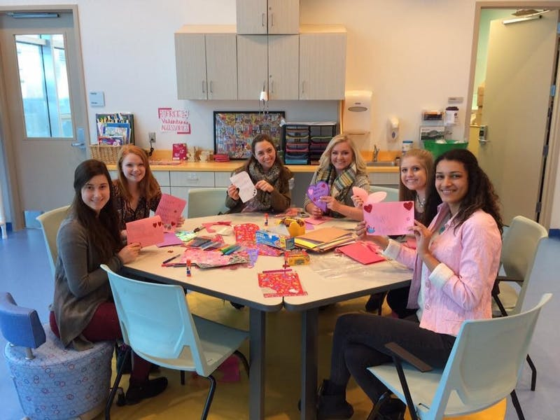 COURTESY | PHI MU SORORITY - GVSU's Phi Mu sisters volunteer for Helen DeVos Childrens Hospital Wednesday, Feb. 8