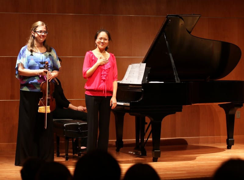 GVL / Kasey Garvelink - Megan Reiter Crawford (left) and Sookkyung Cho (right) performed together on Mar. 15, 2016 in Allendale.