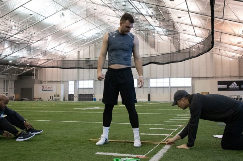 Bart Williams is measured at GVSU's pro day. Courtesy / GVSU Athletics