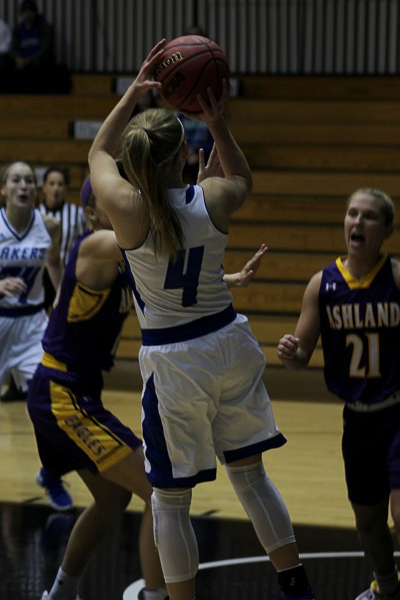 Jenn DeBoer fades away for one of her many buckets against Ashland on Dec. 6 at GVSU's Fieldhouse Arena.  Dan Pacheco / GVL