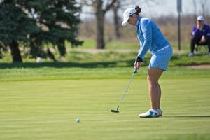 GVL / Luke Holmes - Julie Guckian hits the putt. The women's golf GLIAC Championship was held at the Meadows Friday and Saturday, April 21-22, 2016.