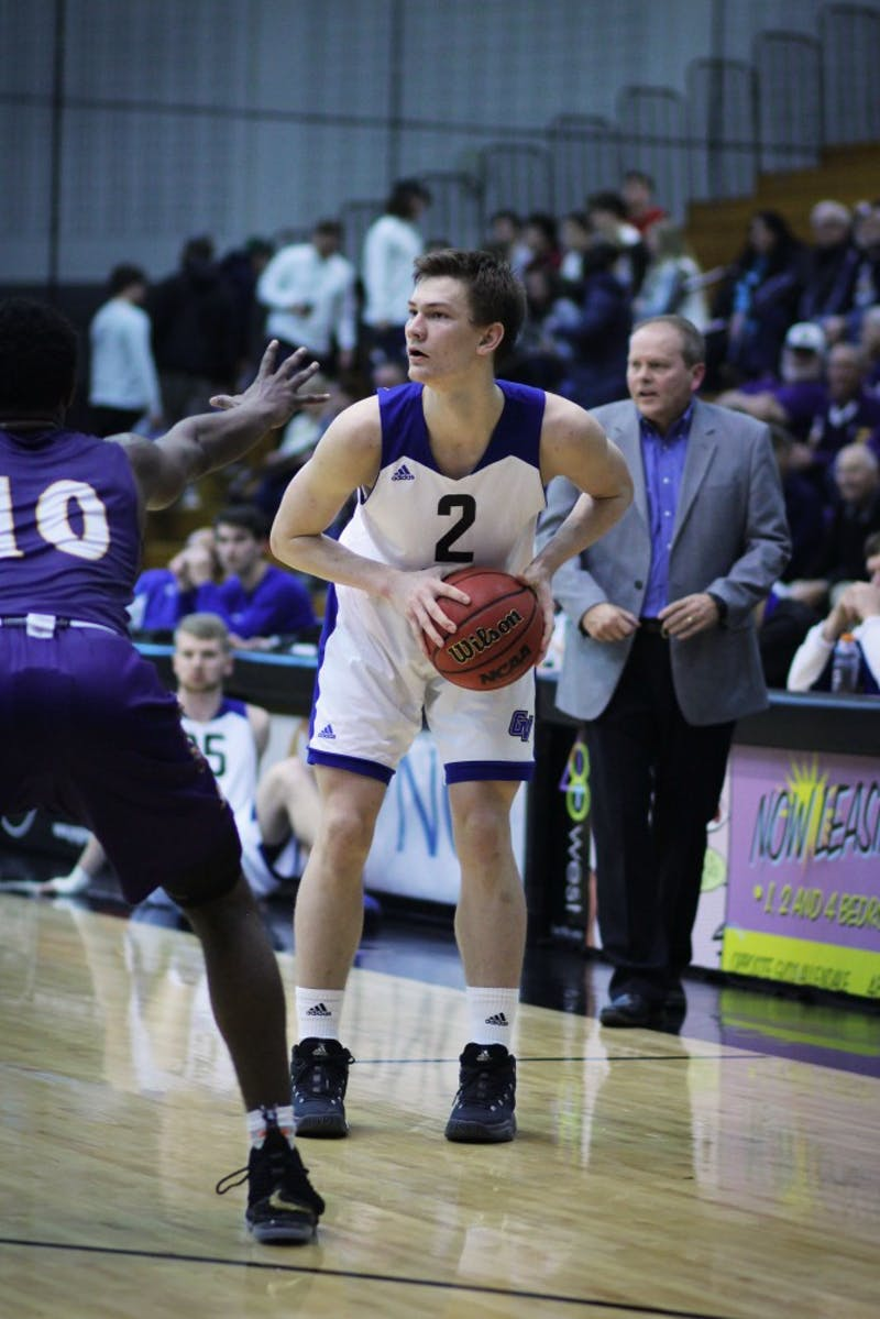 Jake Van Tubbergen scans the court at the game vs Ashland on February 15th, 2018. GVL / Sheila Babbitt