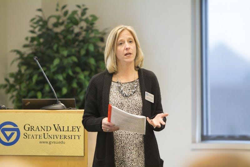 GVL/Mackenzie Bush - Guest speaker, Jodi Chycinski, at the Student Senate meeting Thursday, Feb. 23, 2017.