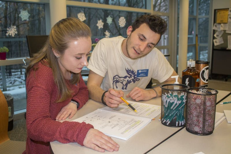 GVL/Mackenzie Bush - Daniel Taccolini and Haleigh Hunter work together in the Writing Center Tuesday, Jan. 17, 2017.