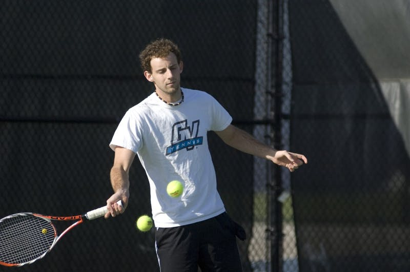 GVL Archive Andrew MillsJunior Josh Kazdan went 1-1 this weekend, winning a singles match on Friday, but dropping his doubles match against Wayne State Saturday afternoon.