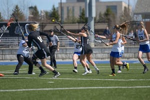 GVL / Luke Holmes - Women's Lacrosse played against Oakland University on Saturday, April 1, 2016.