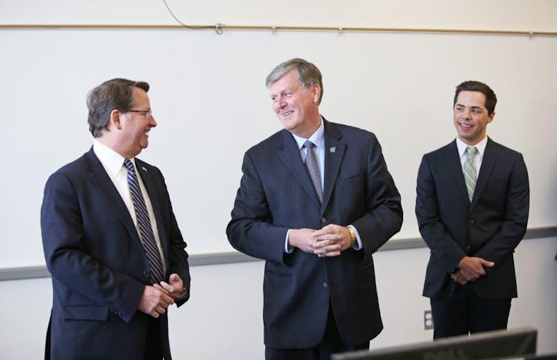 GVL/Kevin SielaffU.S. Senator Gary Peters with GVSU President Thomas Haas and Student Senate President Andrew Plague