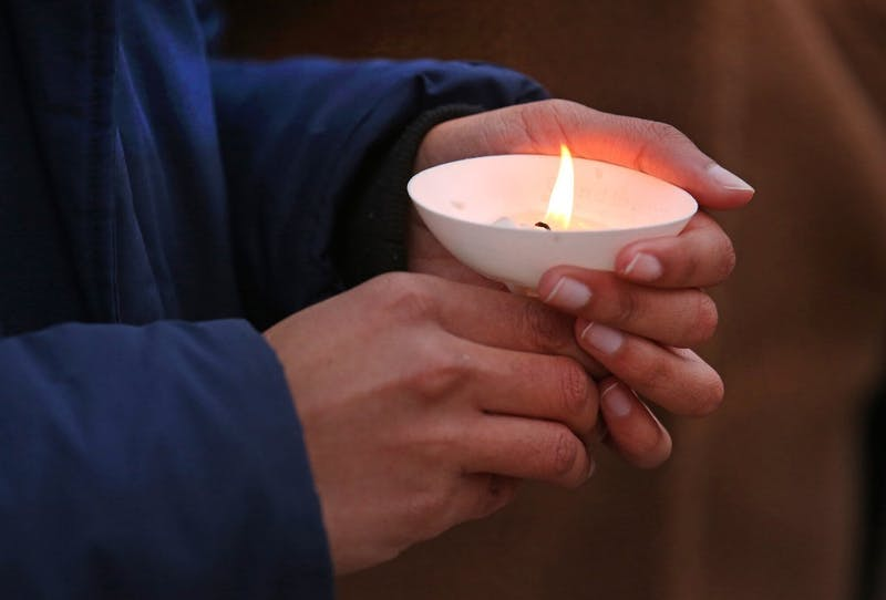 Courtesy / gvsu.edu/gvnowA candlelight vigil was held at the Carillon Tower to remember victims of the New Zealand shootings.Photo Credit: Rex Larsen