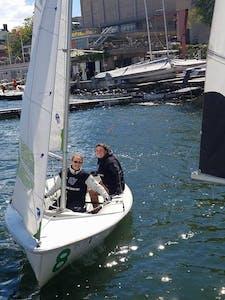GVL / Courtesy - GVSU Club SailingNichole Kievit and Kate Lynne Cavataio at the 2016 Fall Fury Regatta hosted by the Wisconsin Sailing Team.