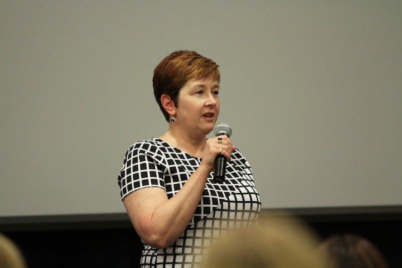 Elise Hilton spoke during the Scarlet Cord event held on Feb. 4 in Allendale, MI.