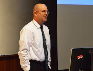 """GVL/Hannah Zajac-- Professor Aaron Baxter of the Biomedical Sciences department gives is """"Last Lecture"""" in Henry Hall on Thursday, 16 Nov 2017."""