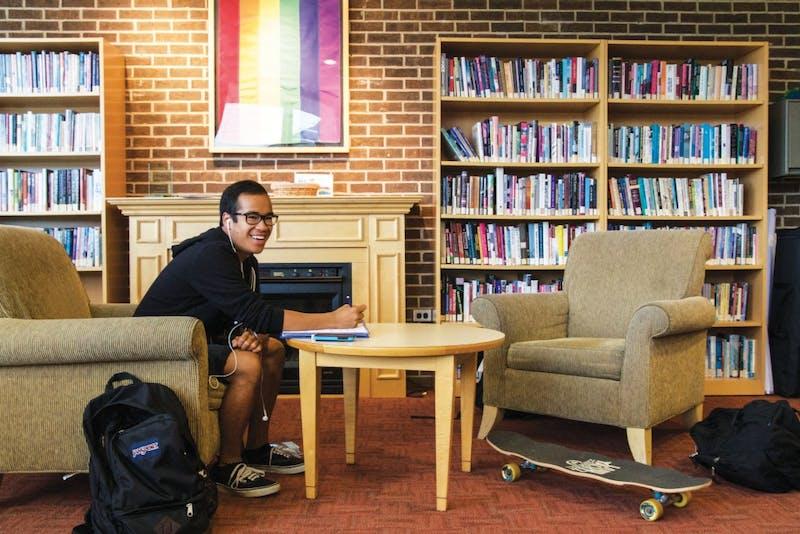 GVL / Sara CarteEric Lacerna studies inside the LGBT Resource Center on Sept. 29, 2015.